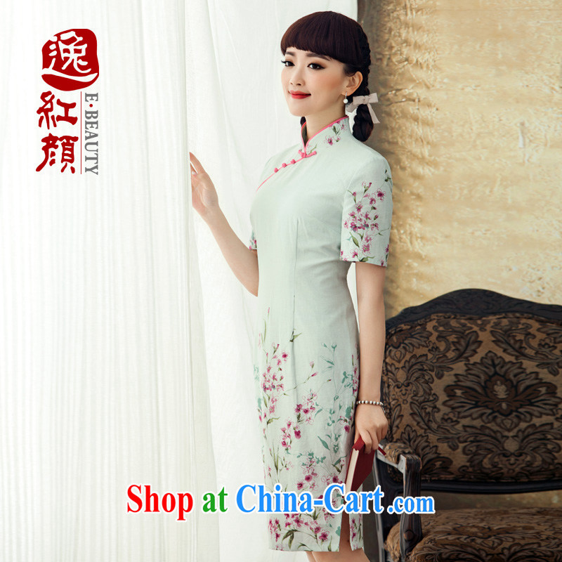 once and for all and even fatally jealous in 2015 new stamp duty improved cotton the cheongsam short spring and summer with antique cheongsam dress white M