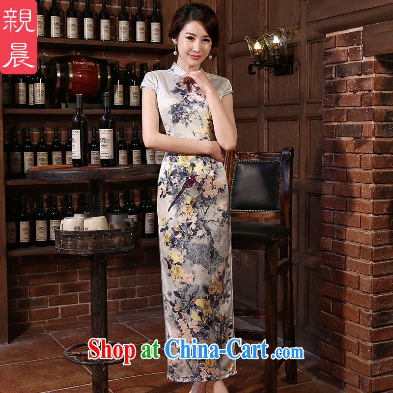 pro-am 2015 new cheongsam dress _spring_summer with sepia, long, daily cheongsam dress improved stylish long 2XL - 10 days the