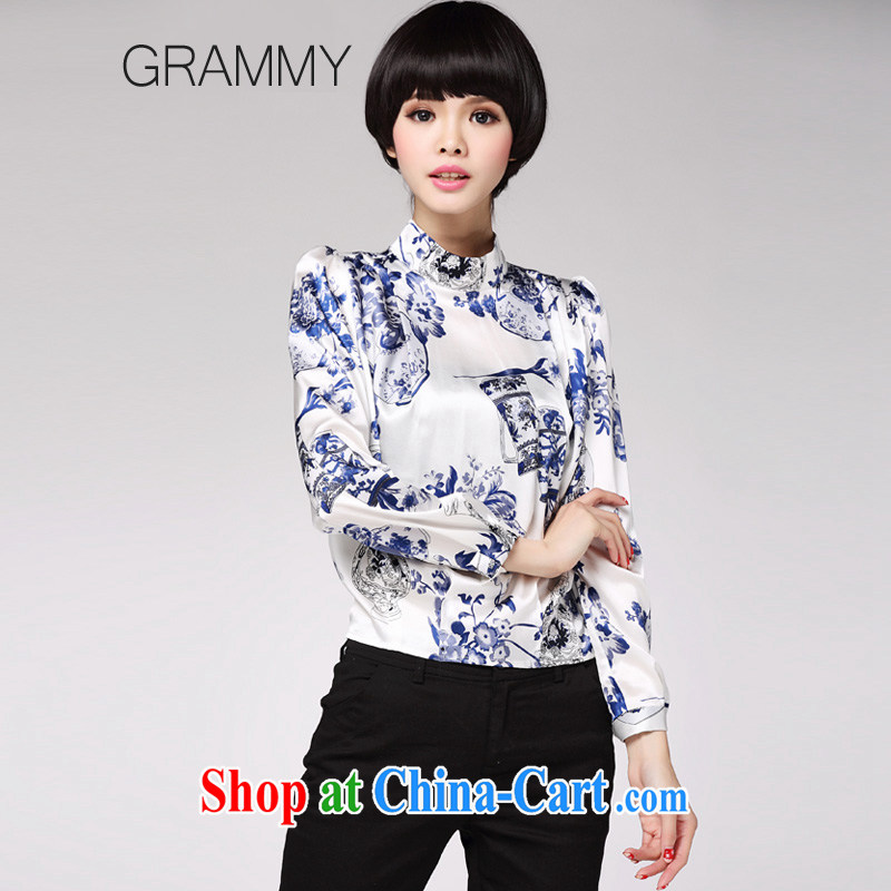 Grammy GRAMMY 2015 new in summer Women's clothes, collar silk Tea Art Nouveau work improved cultivation with short T-shirt G 1240 blue and white porcelain XL