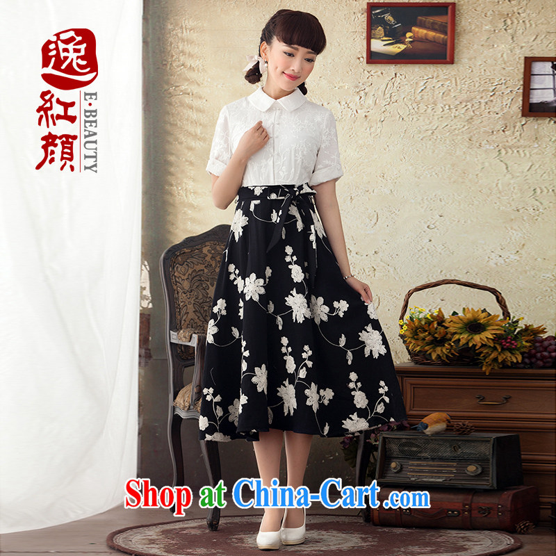 once and for all once and for all and fatally jealous interest in Spring and Autumn long Ethnic Wind retro cotton dress summer beauty embroidery cuff in black skirt L