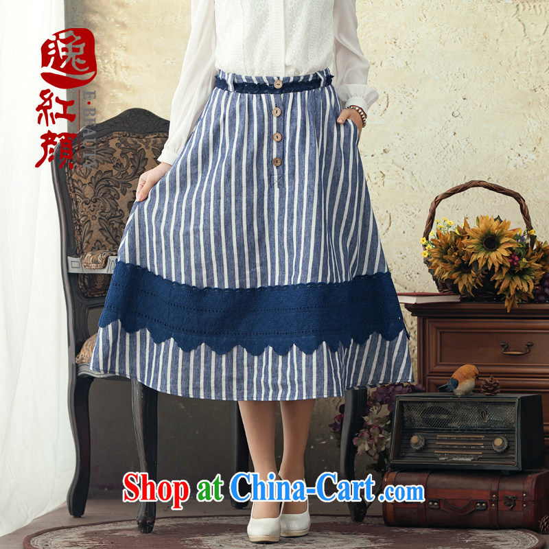 once and for all, fatally jealous laugh Ethnic Wind streaks cotton the body skirt spring and summer long skirt 2015 new retro art with skirt green XL