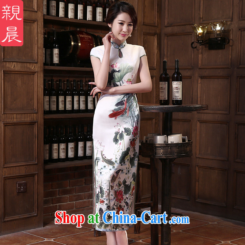 pro-am 2015 new daily cheongsam dress spring and summer beauty antique long cheongsam dress improved stylish white M