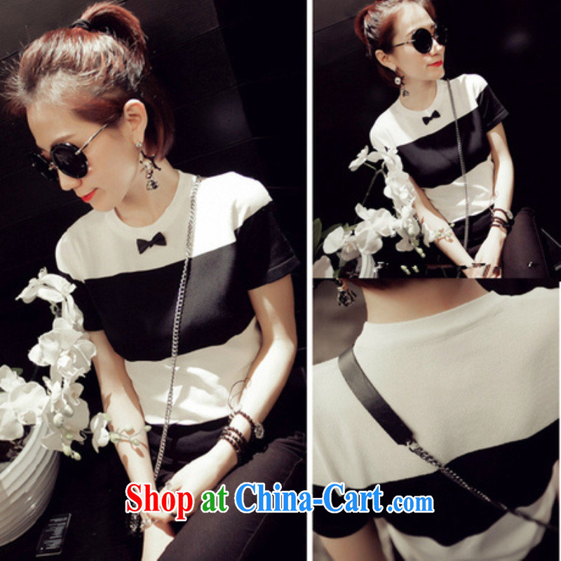 The Dongdaemun 2015 spring new female Korean small bow-tie graphics thin black-and-white, short-sleeved stylish T pension female black and white are code