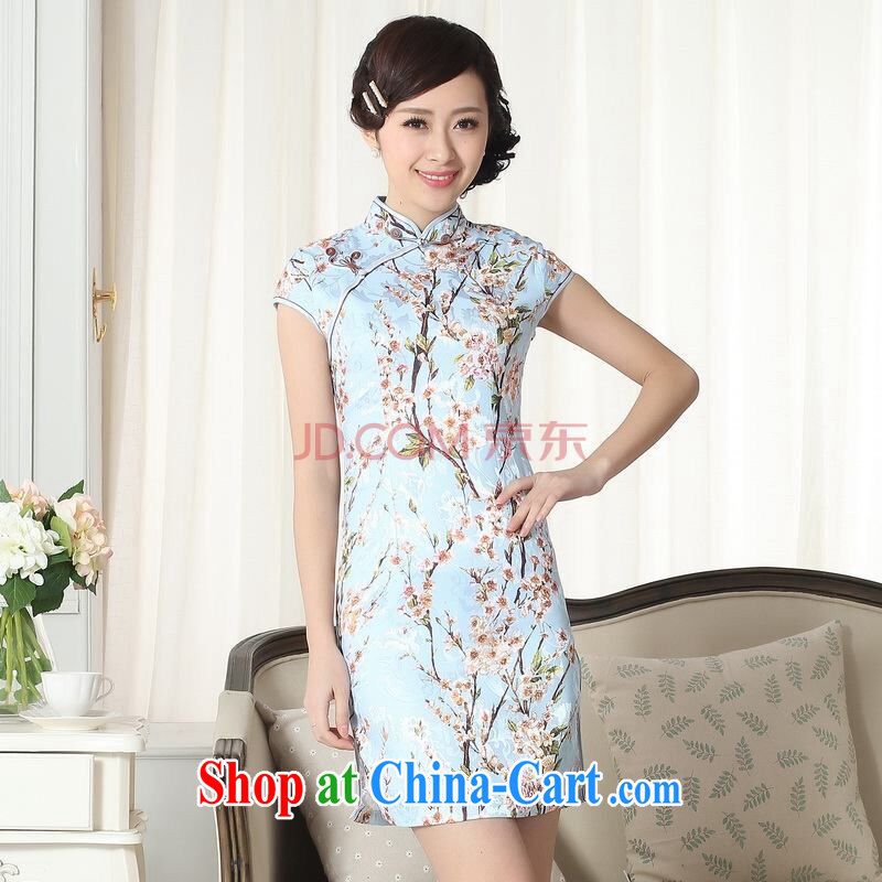 Shanghai optimization options jacquard cotton daily Chinese qipao cultivating short cheongsam picture color 2 XL