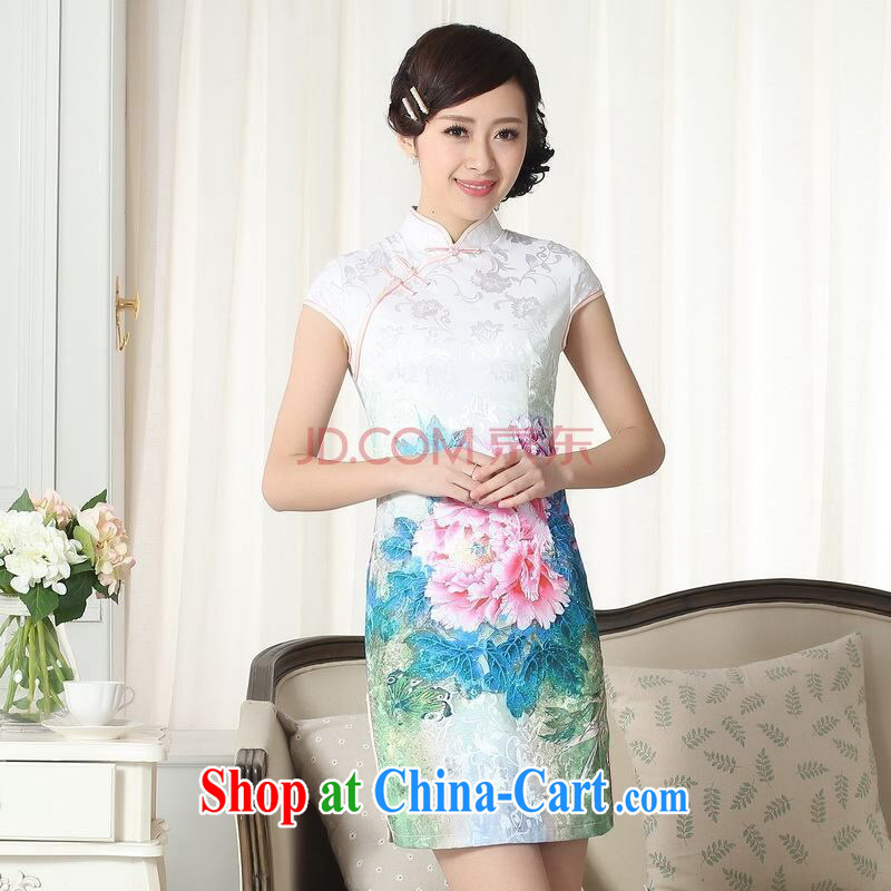 Shanghai optimization on new summer elegance Chinese qipao Chinese graphics thin short cheongsam picture color 2 XL