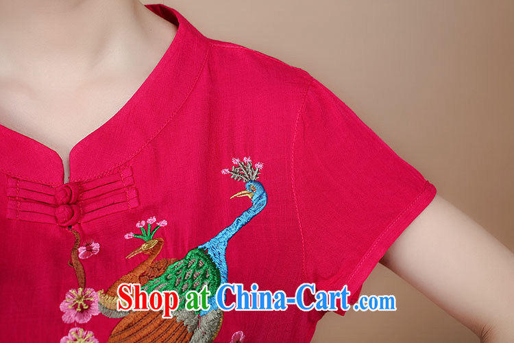 Barbie charm and Asia 2015 summer decor, cotton embroidery Tang replace V collar short-sleeve T-shirt pants two piece set to sell red L pictures, price, brand platters! Elections are good character, the national distribution, so why buy now enjoy more preferential! Health
