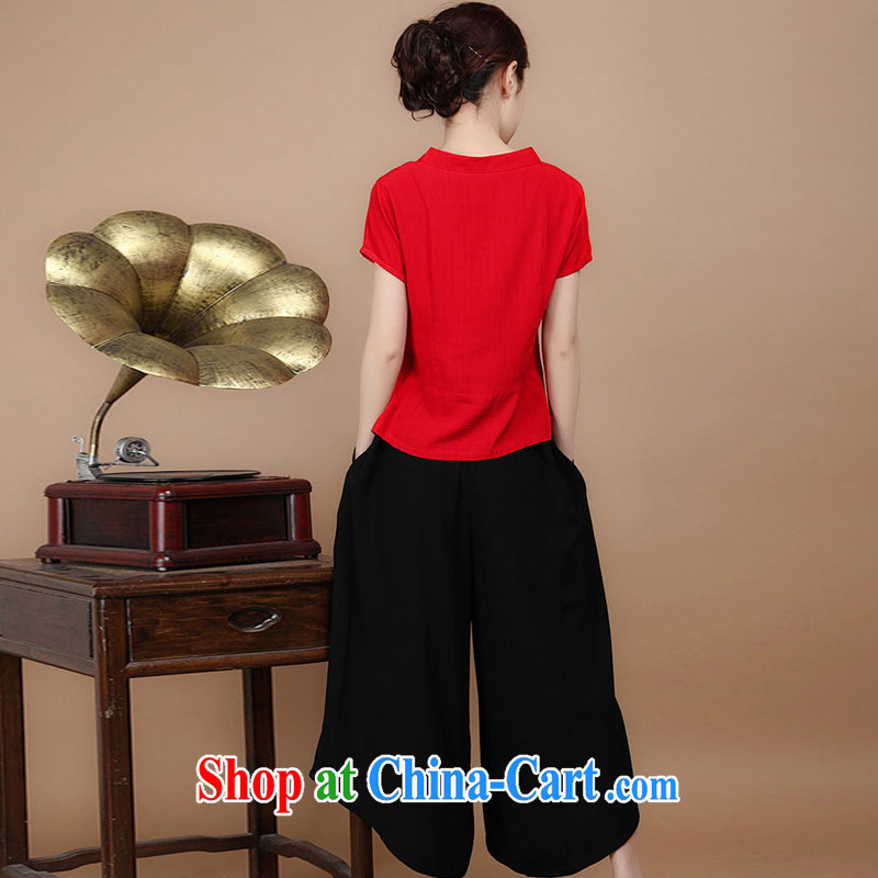 Hip Hop charm and Asia 2015 summer decor, cotton embroidery Tang replace V collar short-sleeve T-shirt pants two piece set to sell red L charm, as well as Asia and (Charm Bali), online shopping