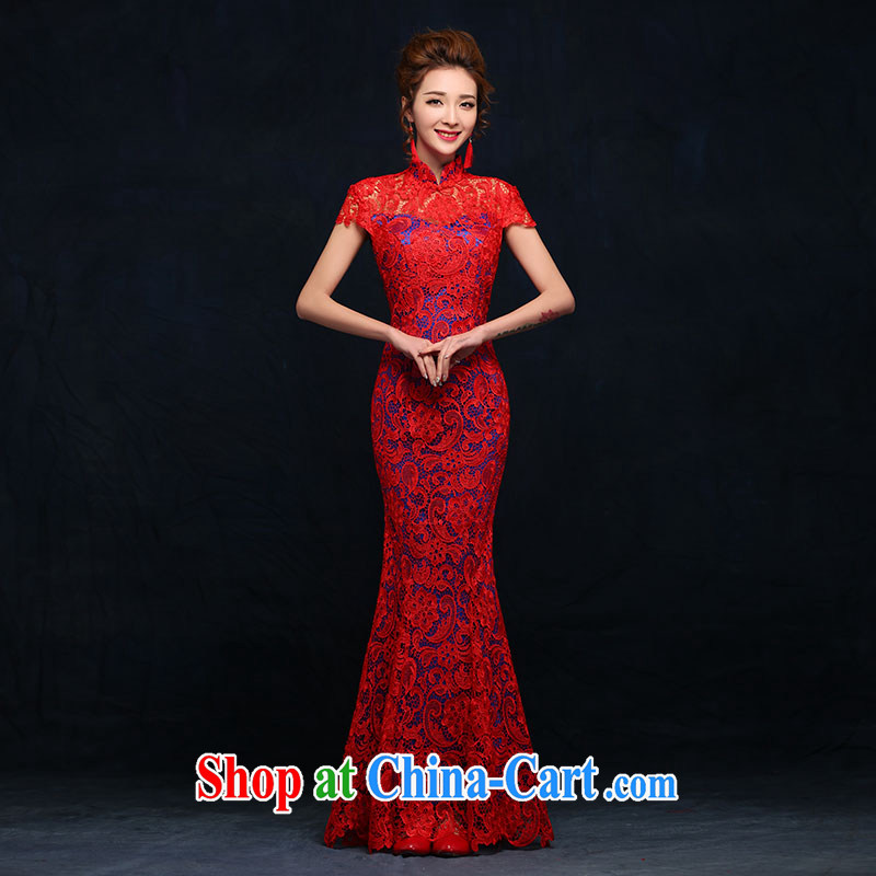 According to Lin Elizabeth spring 2015 new brides with marriage yarn dresses retro lace bows Service Improvement crowsfoot Long Red Red XL