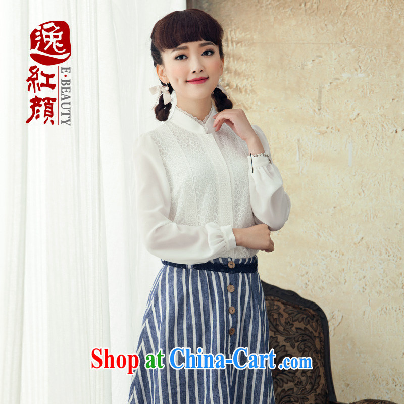 once and for all and without Wind Flower, cultivating Ethnic Wind lace white shirt female long-sleeved 2015 new spring and summer Chinese Antique white 4 13 future library XL
