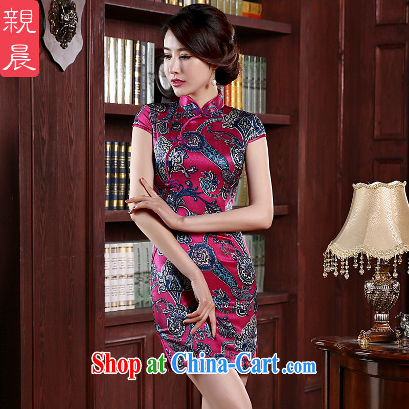 pro-am 2015 new high quality silk dresses spring and summer daily short sauna Silk Cheongsam dress improved stylish short 2 XL - 20 day shipping