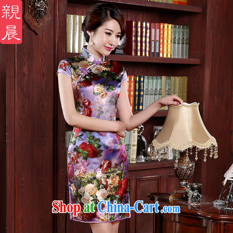 pro-am 2015 new upscale silk spring and summer women's clothing daily short sauna Silk Cheongsam dress improved stylish first floor, first the short 2 XL - 5 day