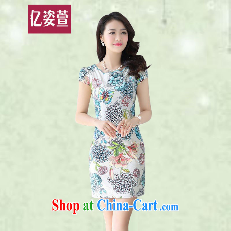 100 million Dollar City summer 2015 ladies' new, Retro cultivating short-sleeved ladies dress style package and blue-and-white ware stamp cheongsam dress 9188 pink XXL
