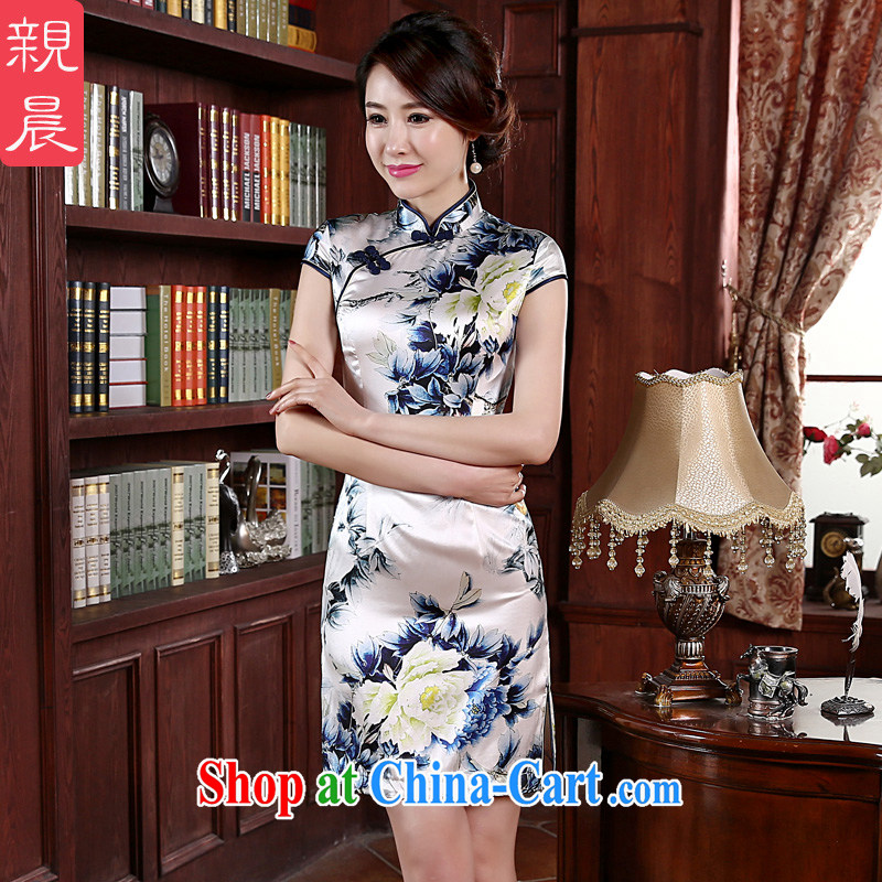 pro-am 2015 new upscale Silk Dresses short spring and summer daily sauna Silk Cheongsam dress improved stylish short 2 XL