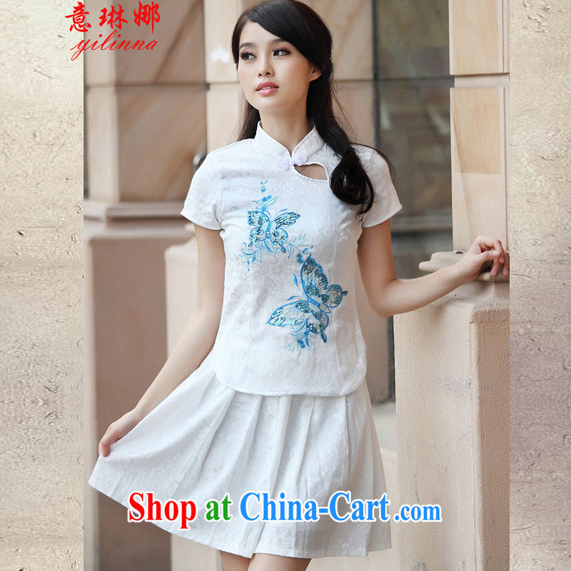 And Catherine spring 2015 new stylish and elegant antique stamp fresh Chinese to Butterfly outfit Kit 6908 blue XL