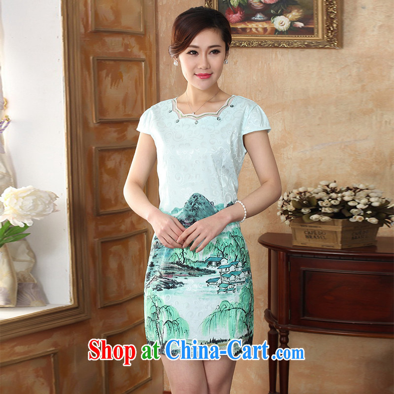 The sheep Pack E-Mail summer maximum code 2015 summer new jacquard cotton retro improved Lotus dresses daily fashion beauty style daily outfit Tang with green scenery