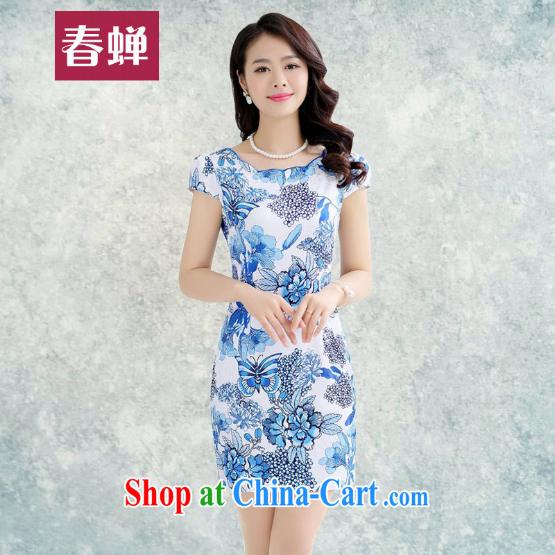 Spring cicada women summer 2015 new retro cultivating short-sleeved dresses Korean style package and blue and stamp duty cheongsam dress royal blue XXL