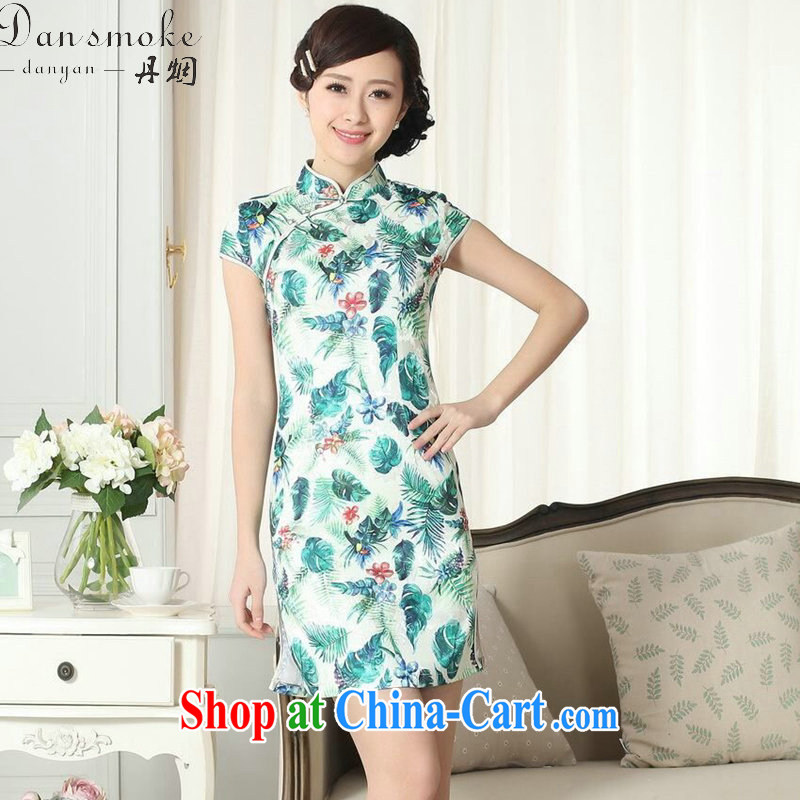 Dan smoke lady stylish jacquard cotton cultivating short cheongsam dress summer new female Chinese improved version short cheongsam dress figure-color 2 XL