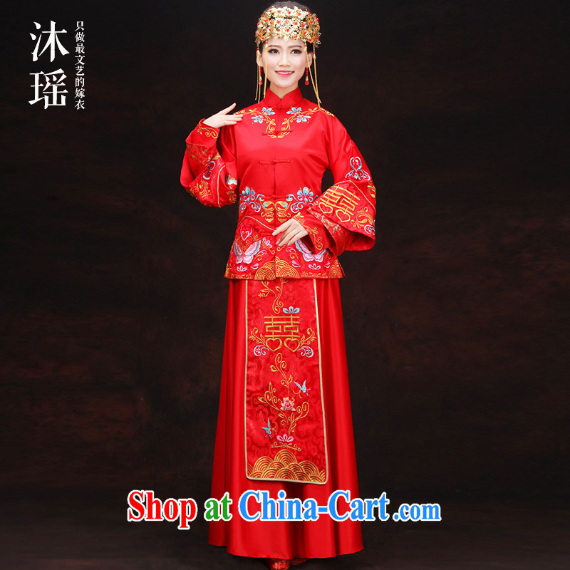 Mu Yao 2015 new spring and summer Chinese women show reel service 2-Piece long, long-sleeved-toast field service bridal dresses of Phoenix Phoenix costumes use red XL chest of more than 102 for