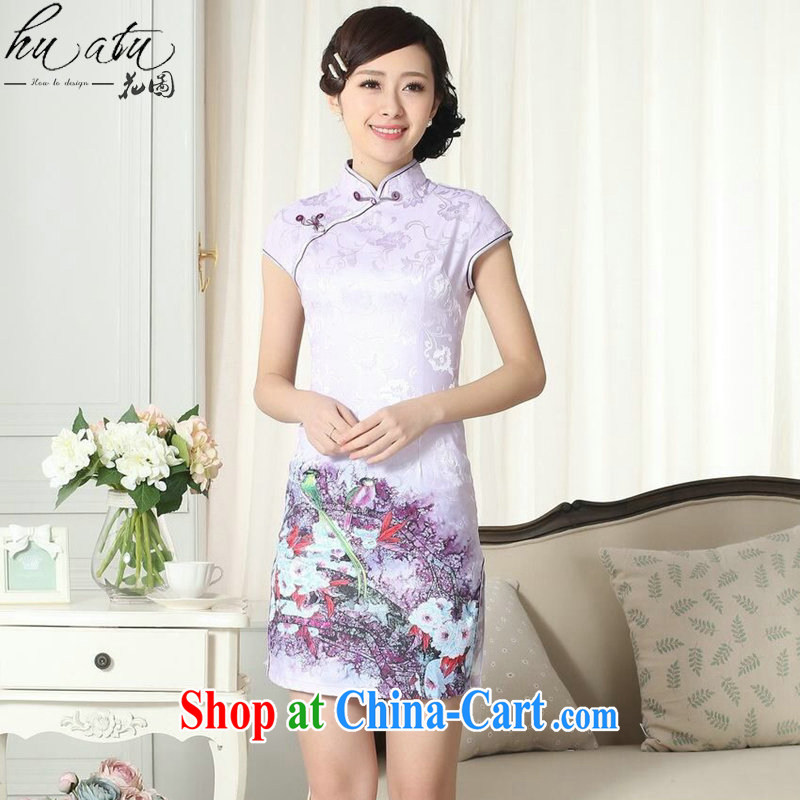 Take the cheongsam Chinese summer new female Chinese improved version, for cultivating short cheongsam dress lady stylish cotton robes as the color 2 XL
