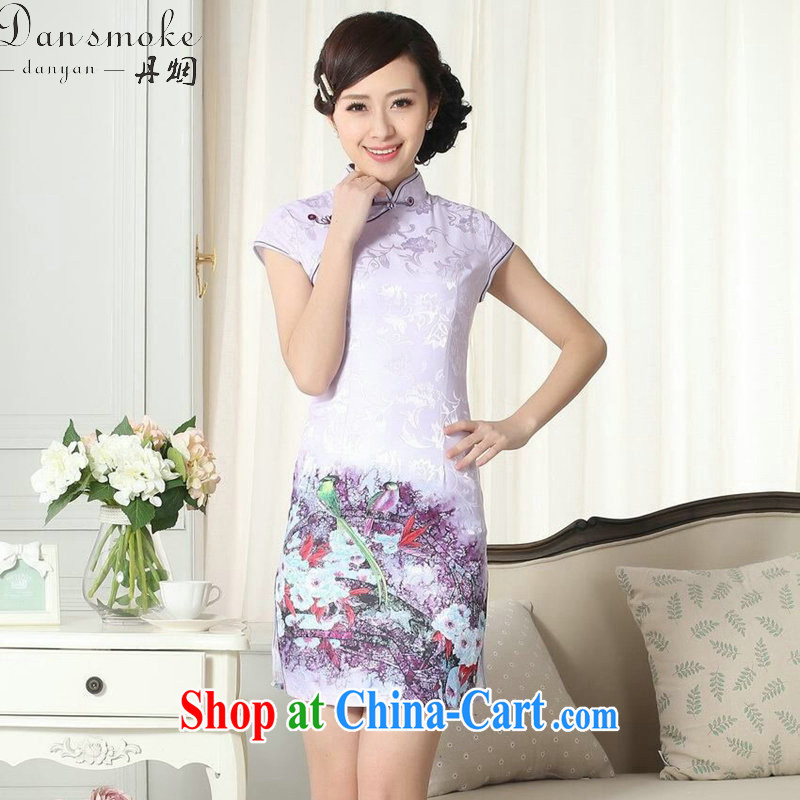 Dan smoke cheongsam Chinese summer, new female Chinese improved version, for cultivating short cheongsam dress lady stylish cotton robes as color 2XL