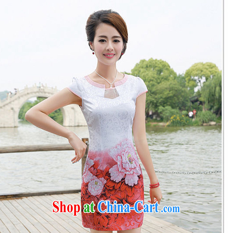 2015 new summer waist-cultivating improved cheongsam elegant fresh stamp pack and dress women 8887 toner peony flowers XL