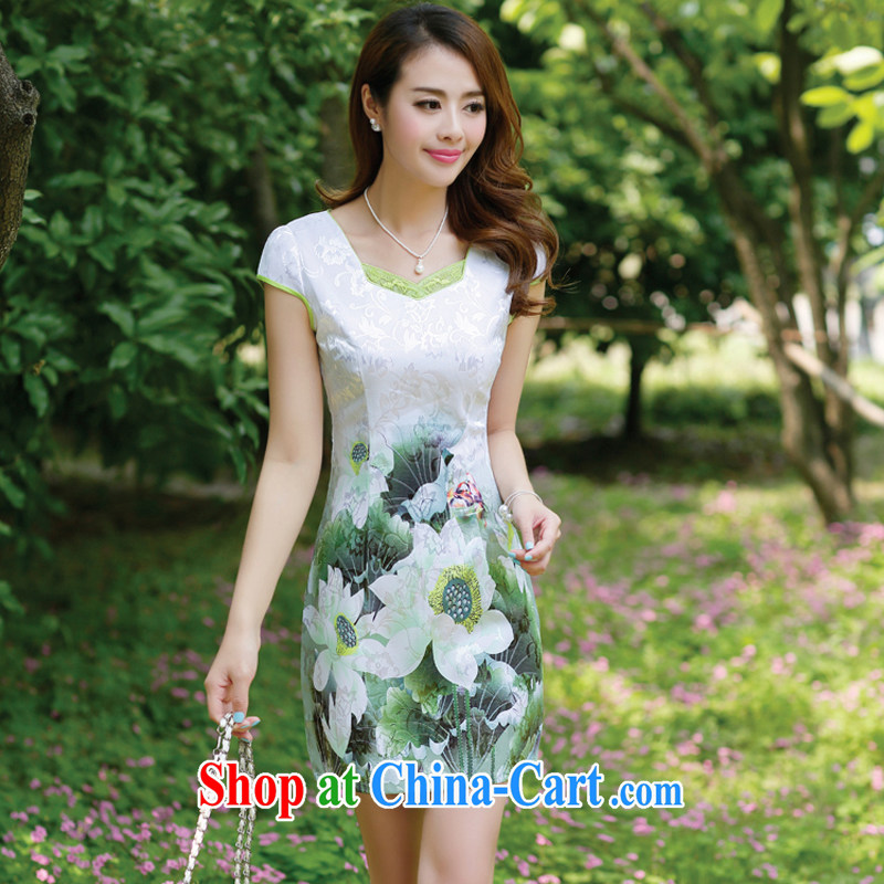 The European site dresses 2015 new summer women cheongsam dress short-sleeved beauty stamp National wind package and skirt 8896 Green lotus L