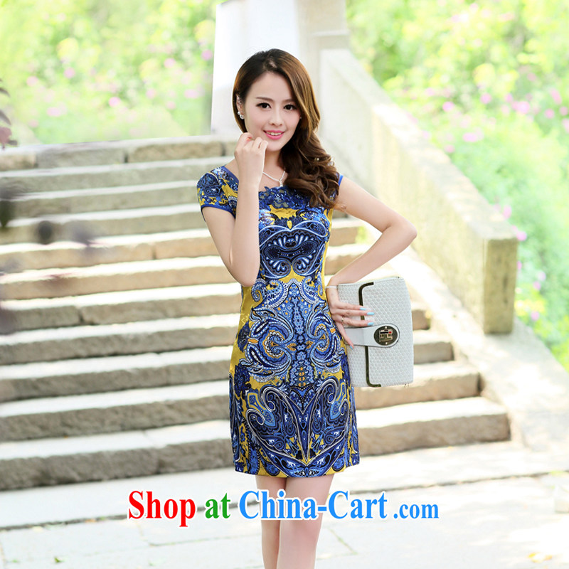 Summer 2015 new embroidery cheongsam dress girls improved daily packages and short-sleeved-waist stamp dresses 8880 yellow L
