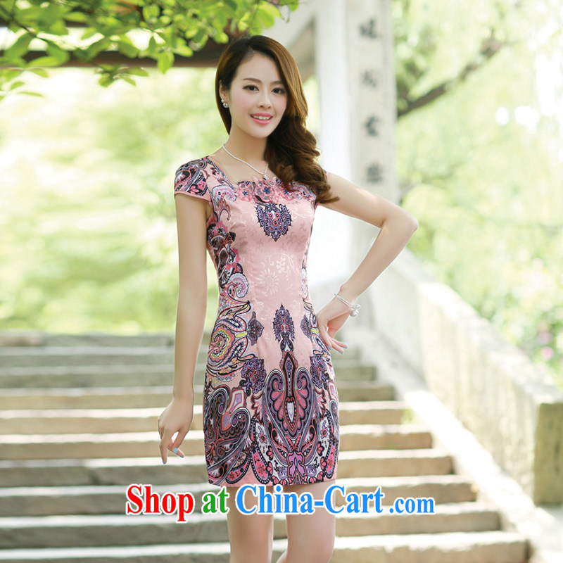 Summer 2015 new embroidery cheongsam dress girls improved daily packages and short-sleeved-waist stamp dress 8880 pink XL
