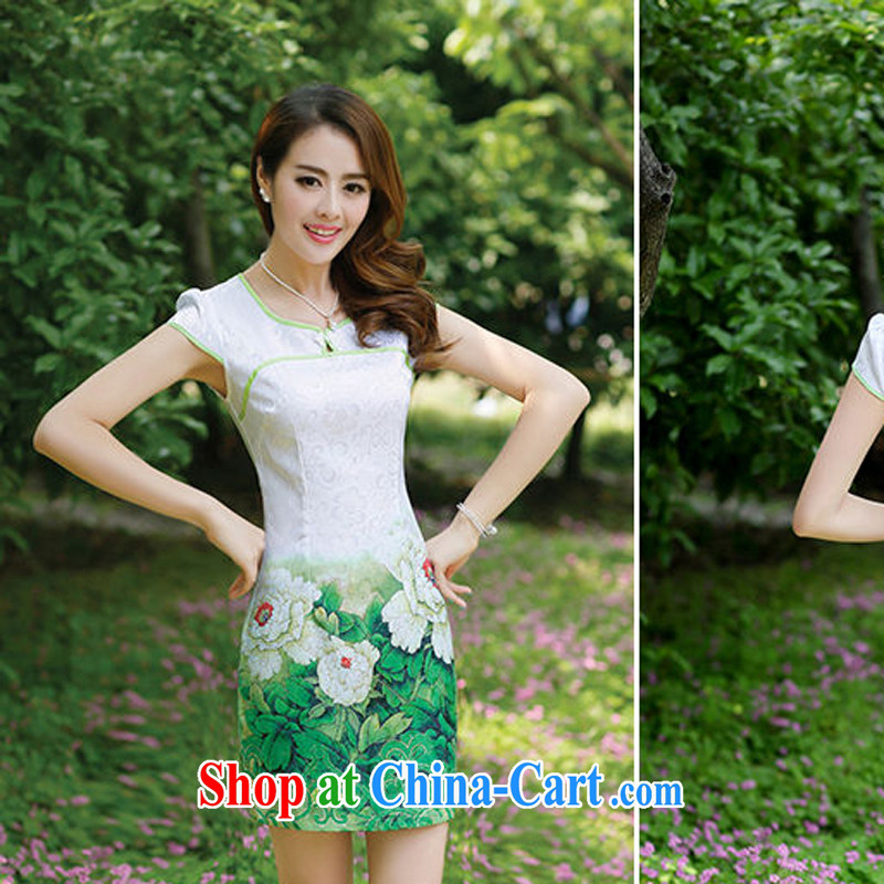 Improved stylish short large code 2014 new cheongsam dress dresses women's clothing summer long girls lace embroidery 8882 green Peony flower XL
