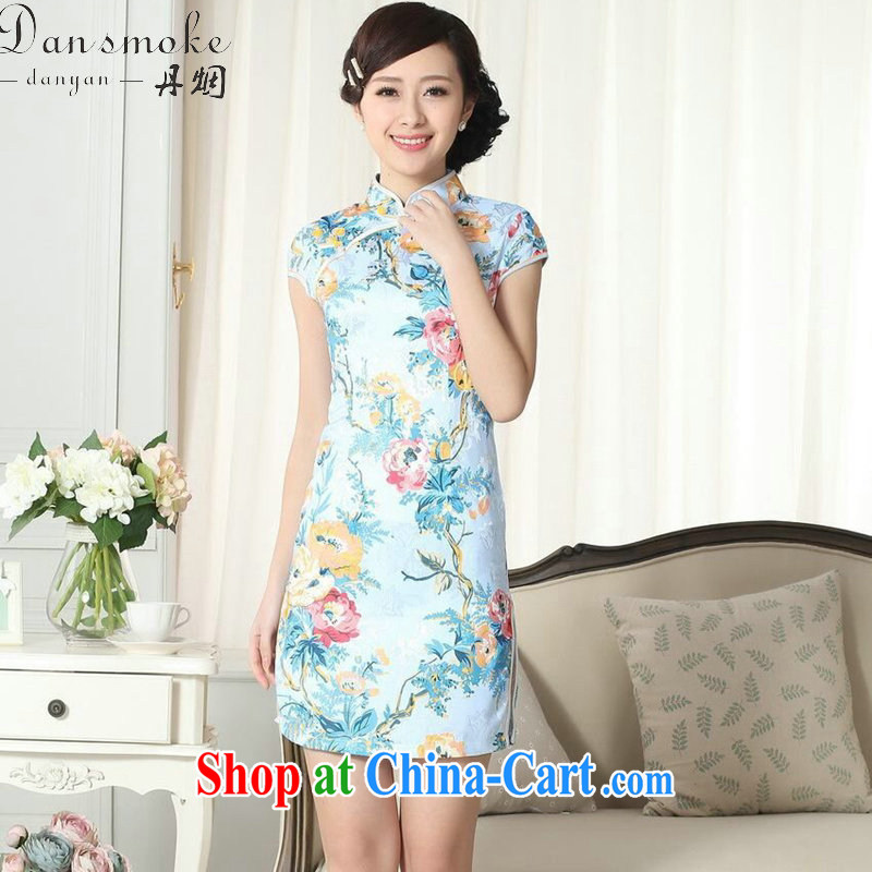 Dan smoke female dresses summer, new Chinese improved version jacquard cotton daily Chinese qipao, for cultivating short dresses such as the color 2 XL