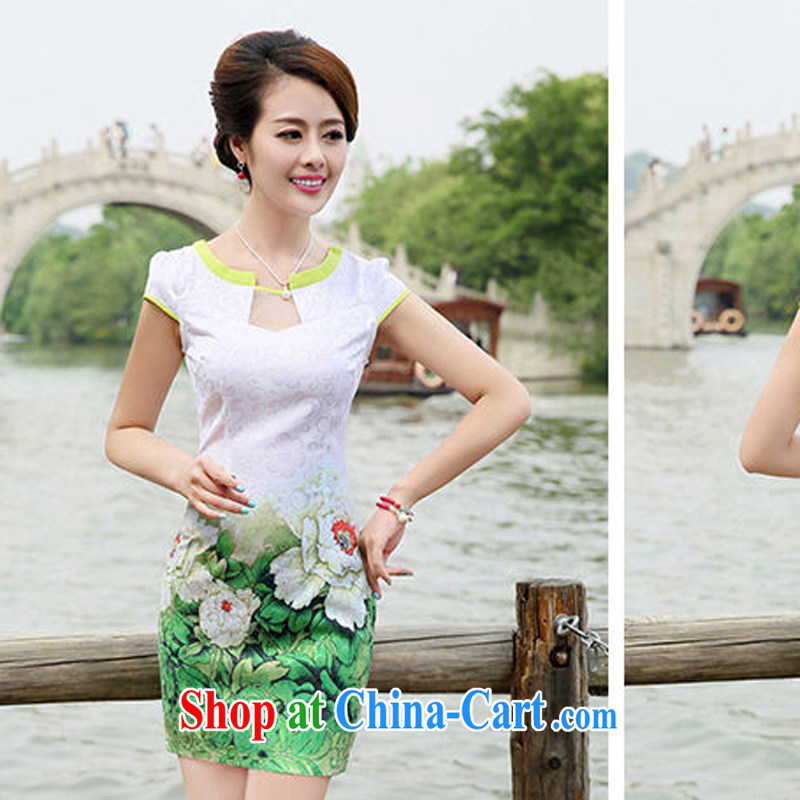 2015 new summer waist-cultivating improved cheongsam elegant fresh stamp pack and dress women 8887 green Peony flower L