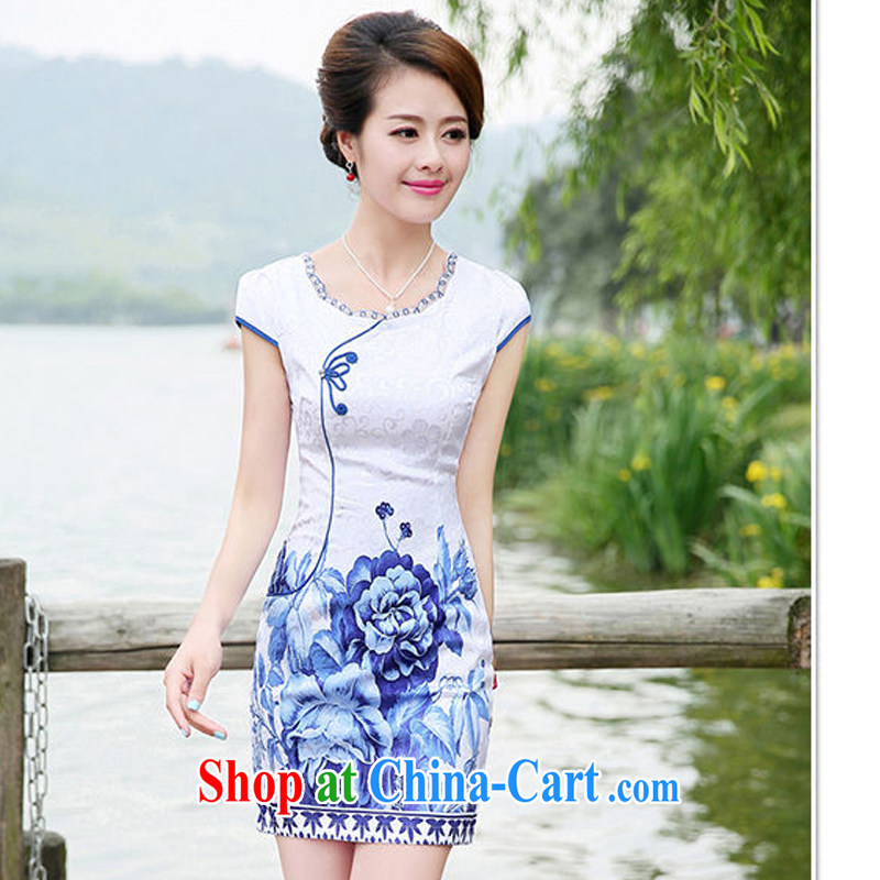 2015 new summer dresses Ms. package and cultivating graphics thin elegant sexy dress, 8886 the L