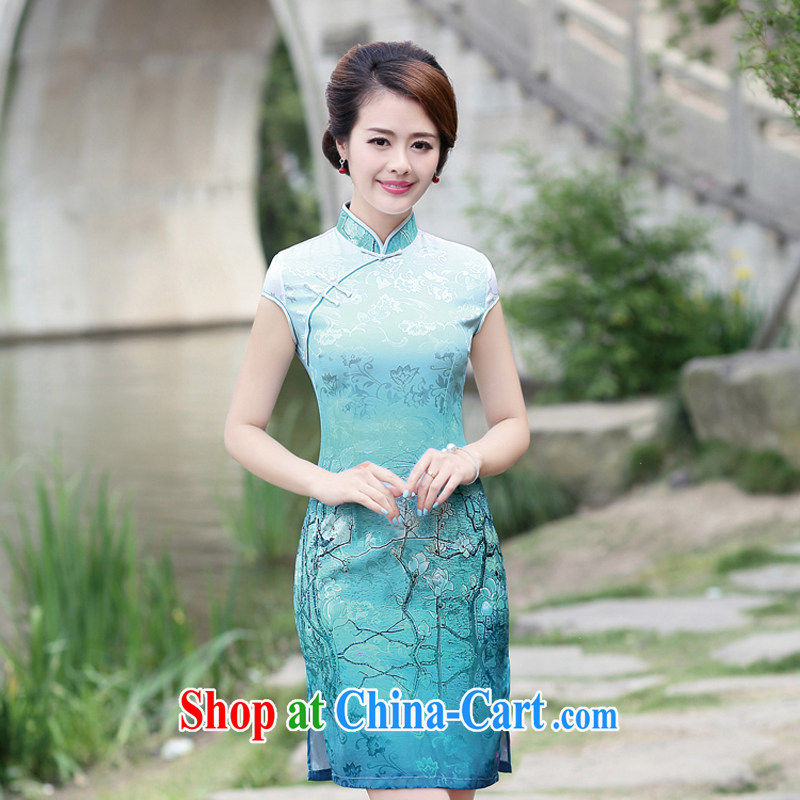 2015 new summer wear cheongsam dress improved stylish everyday floral Ethnic Wind and elegant low-power the truck cheongsam dress 8892 container take L