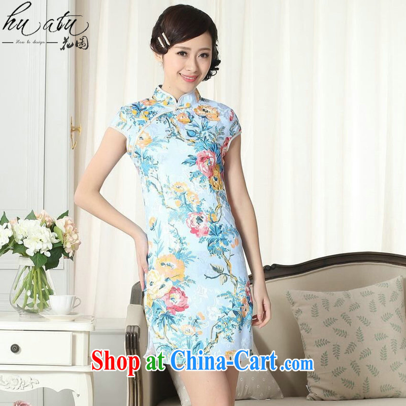 Take the women summer dresses with new Chinese improved version jacquard cotton daily Chinese qipao, for cultivating short dresses such as the color 2 XL