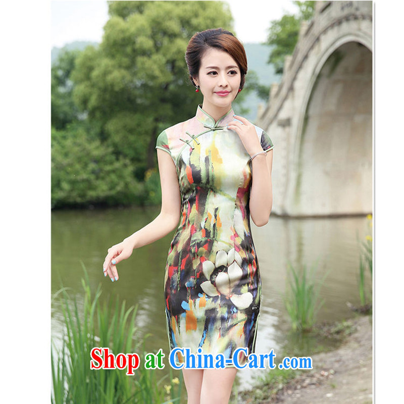 cheongsam dress retro upscale Peony cheongsam dress 2015 new summer short sleeved dresses daily dress 8833 - 1 Green lotus XL