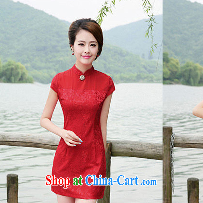 2015 New Red improved short dresses bridal dresses wedding dresses serving toast cheongsam dress 8878 red L
