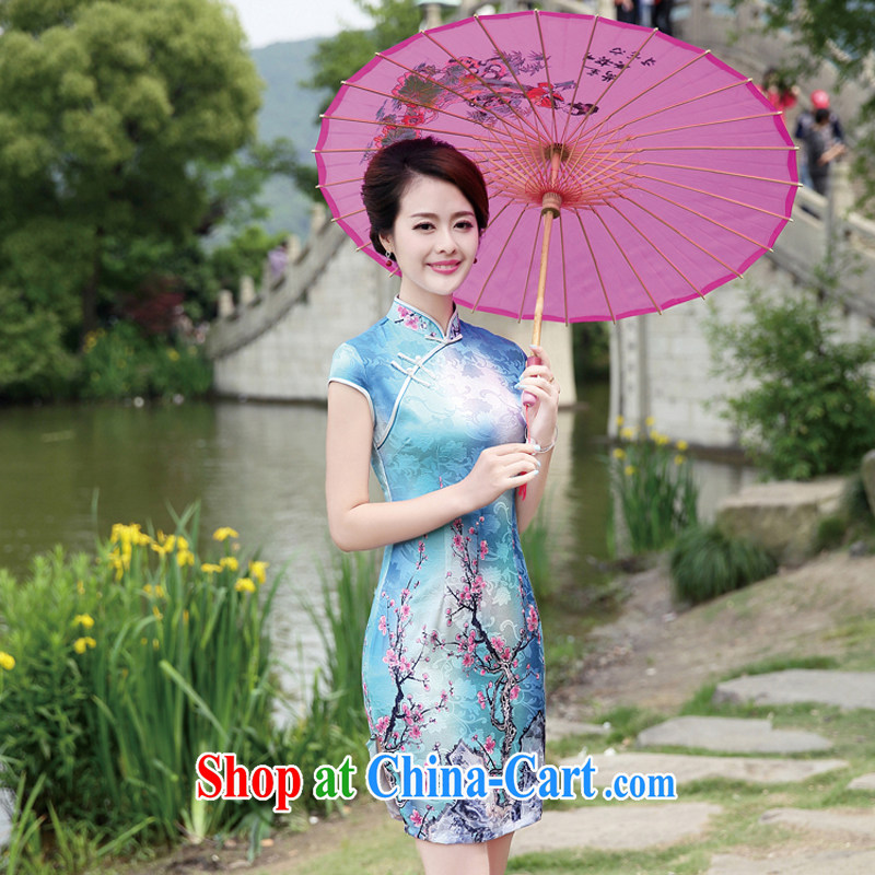 2015 new summer wear cheongsam dress improved stylish everyday floral Ethnic Wind and elegant low-power the truck cheongsam dress 8892 Phillips XL