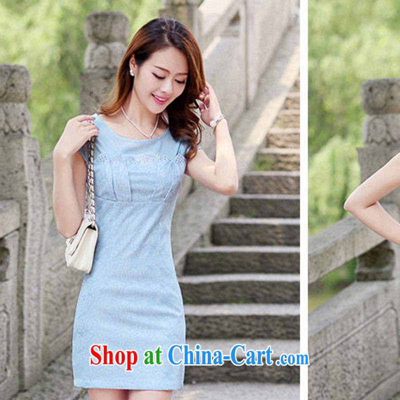 2015 new, decorated in summer, the waist short-sleeved dress elegant lace cheongsam package and 8877 blue XL