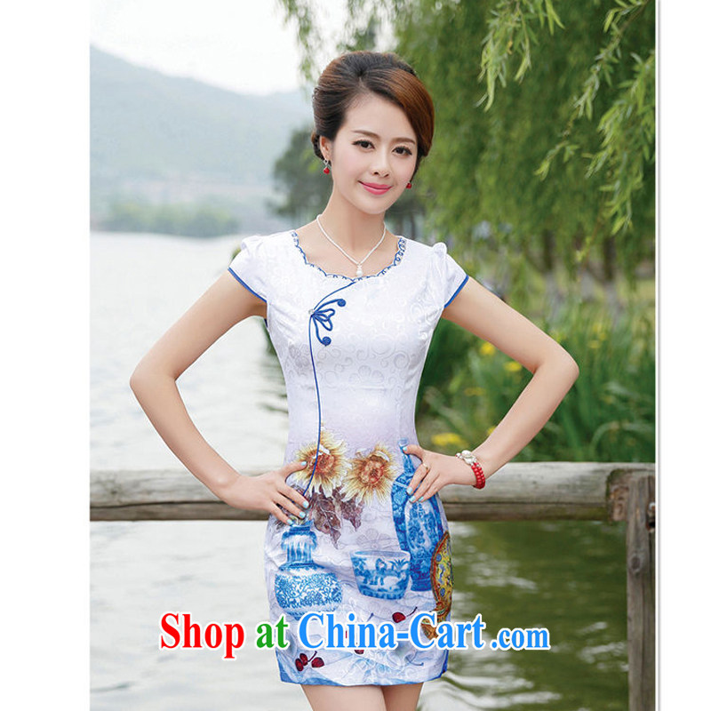 2015 new summer dresses Ms. package and cultivating graphics thin elegant sexy dresses 8886 flower vase L