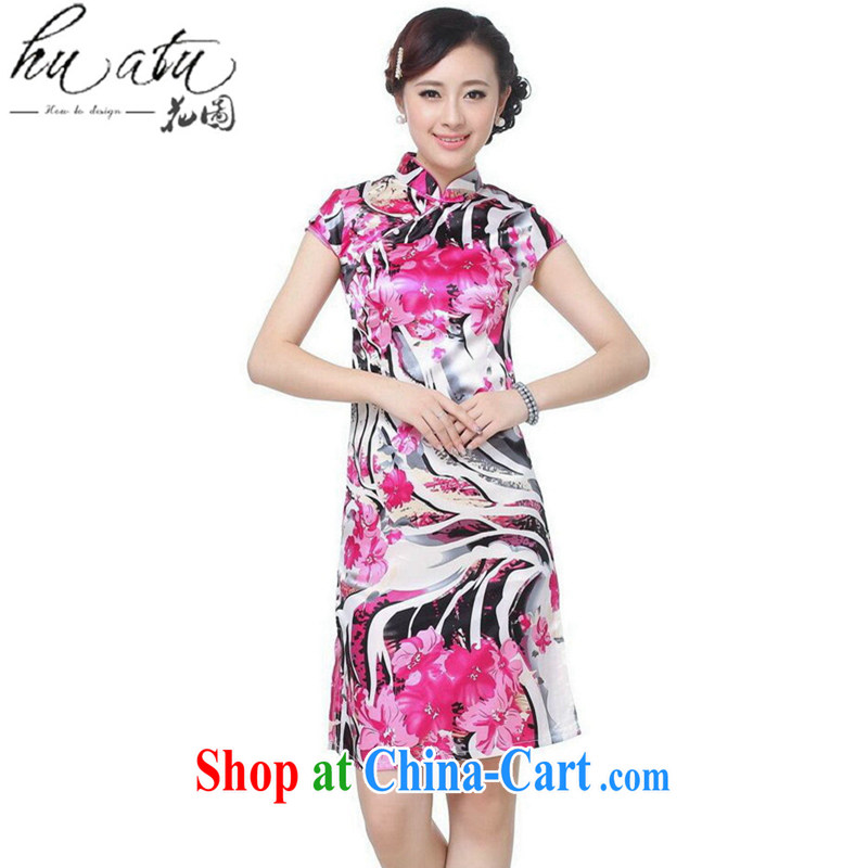 spend the summer new cheongsam dress Chinese cheongsam Chinese improved, for a charge-back damask stamp mini short flag as shown color 2 XL