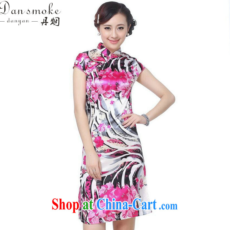 Dan smoke summer new cheongsam dress Chinese cheongsam Chinese improved, for a charge-back damask stamp mini short flag as shown color 2 XL