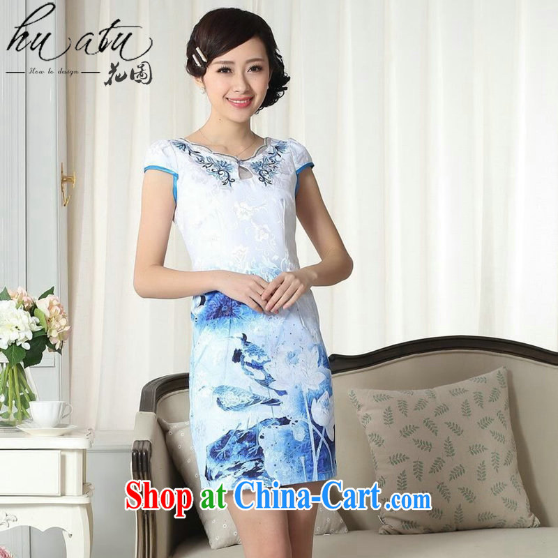 spend the summer new female qipao elegance Chinese qipao improved version with graphics thin cotton short dresses such as the color 2 XL