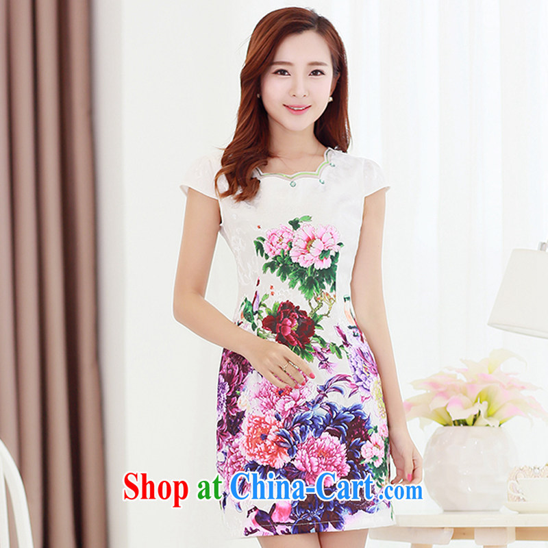 Los Angeles Summer 2015 the new Korean beauty and elegant antique stamp stylish female short-sleeve cheongsam dress the XXL