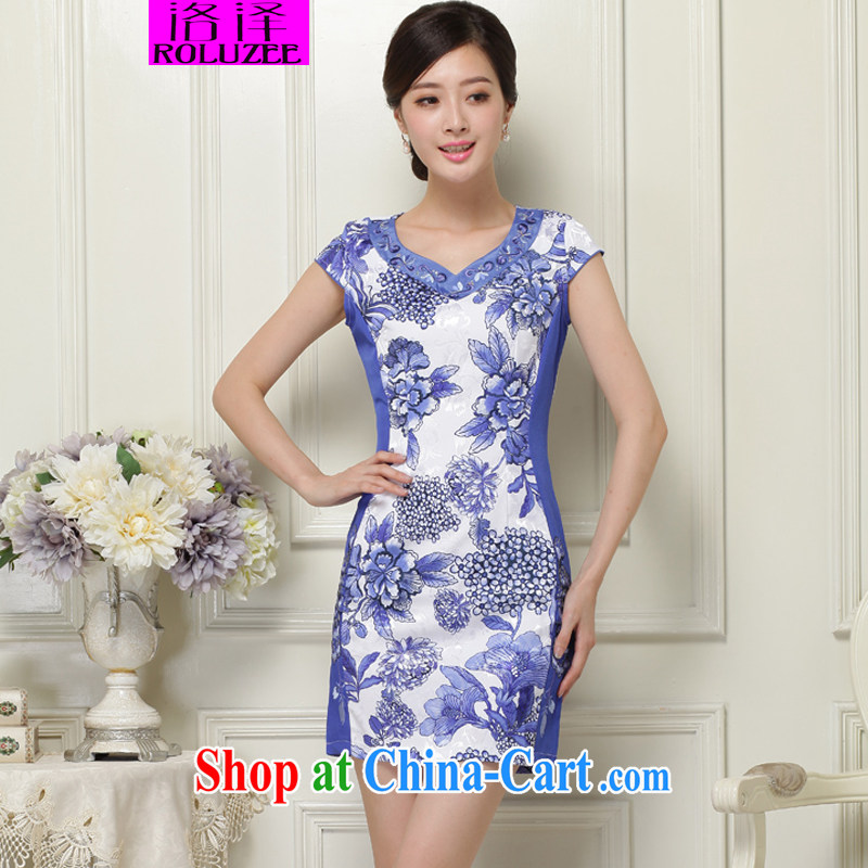 Los Angeles 2015 new summer dresses retro beauty stamp embroidery cheongsam dress blue XXL