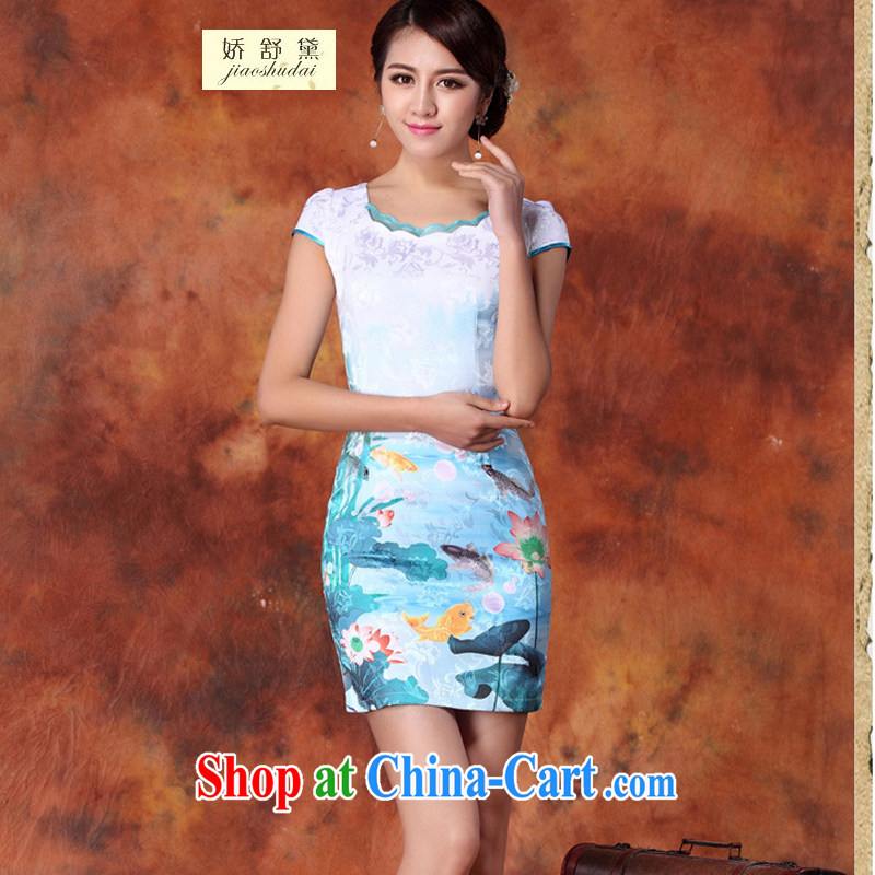 Air Shu Diane 2015 new, decorated in summer, daily improved stylish dresses dress skirt retro style dress short-sleeve 29 blue S