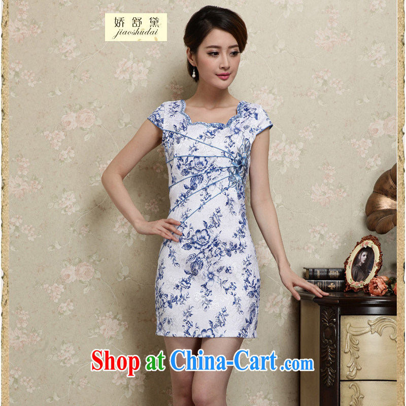 Air Shu Diane 2015 summer new improved stylish daily short blue and white porcelain cheongsam dress beauty package and summer girls 28 blue L