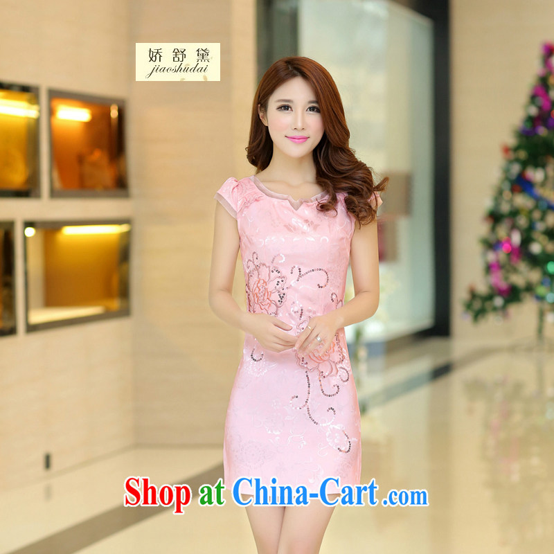 Air Shu Diane 2015 new spring and summer dresses lace retro fashion beauty graphics thin cheongsam dress improved flag dresses girls 32 pink L