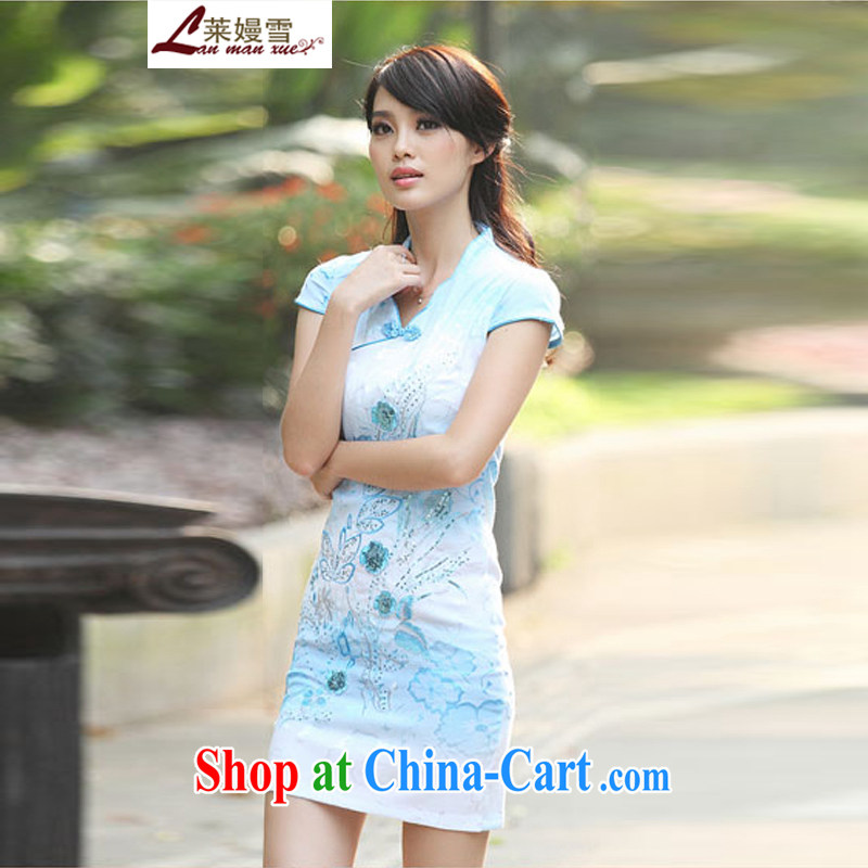 Golden Harvest, snow 2015 new Stylish retro cheongsam dress blue XL