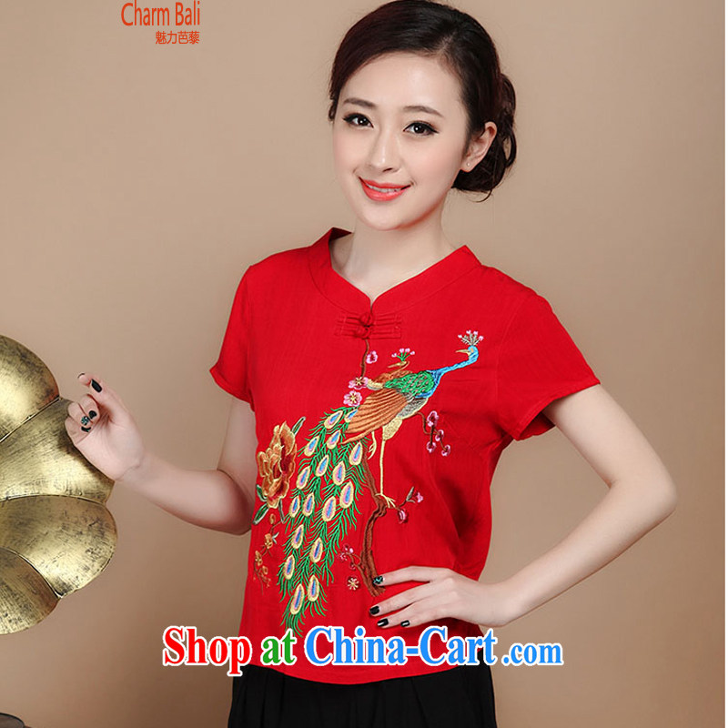 2015 summer decor, cotton embroidery Tang replace V collar short-sleeve T-shirt pants two piece set to sell red L