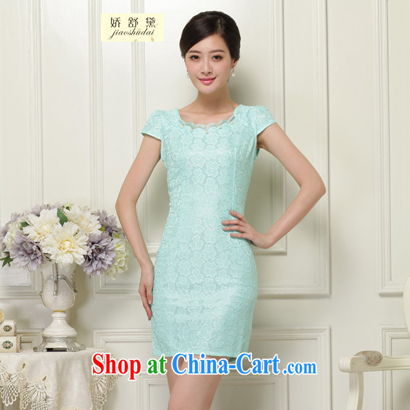 Air Shu Diane 2015 summer new Chinese improved stylish dresses summer lace dresses ethnic wind retro short cheongsam dress 37 green L